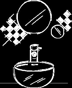 Illustrazione di lavandino e specchio